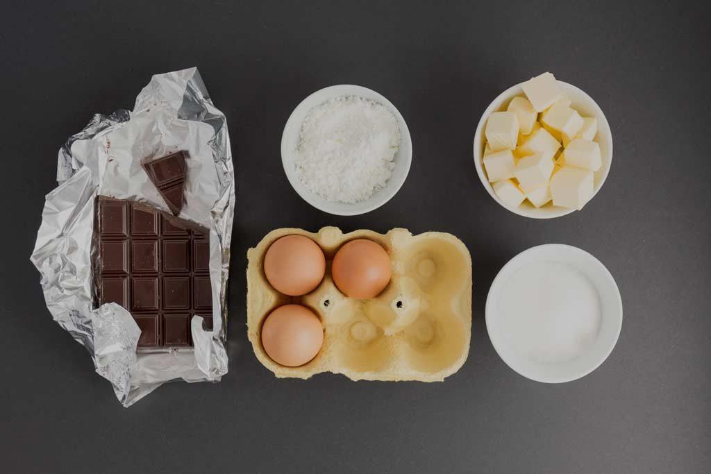 Ingrédient pour un fondant au chocolat sans gluten