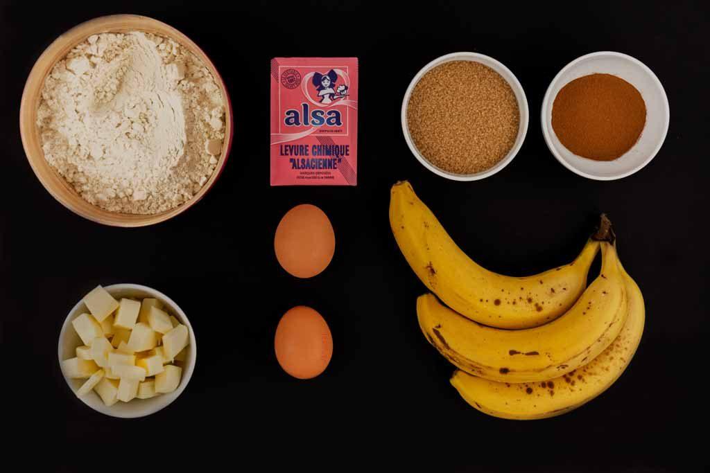 ingrédients pour un Banana Bread